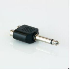 Adattatore 2 prese RCA -> spina Jack 6,3 mm mono